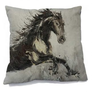 Black Stallion Cushion Cover